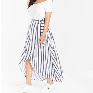 Dresses & Skirts - Striped hi-lo faux wrap skirt